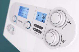 Controls on a domestic gas boiler to control the hot water and central heating